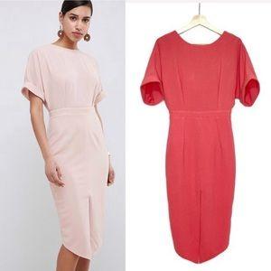Asos Design Wiggle Midi Dress V-Cut Back Pink 4